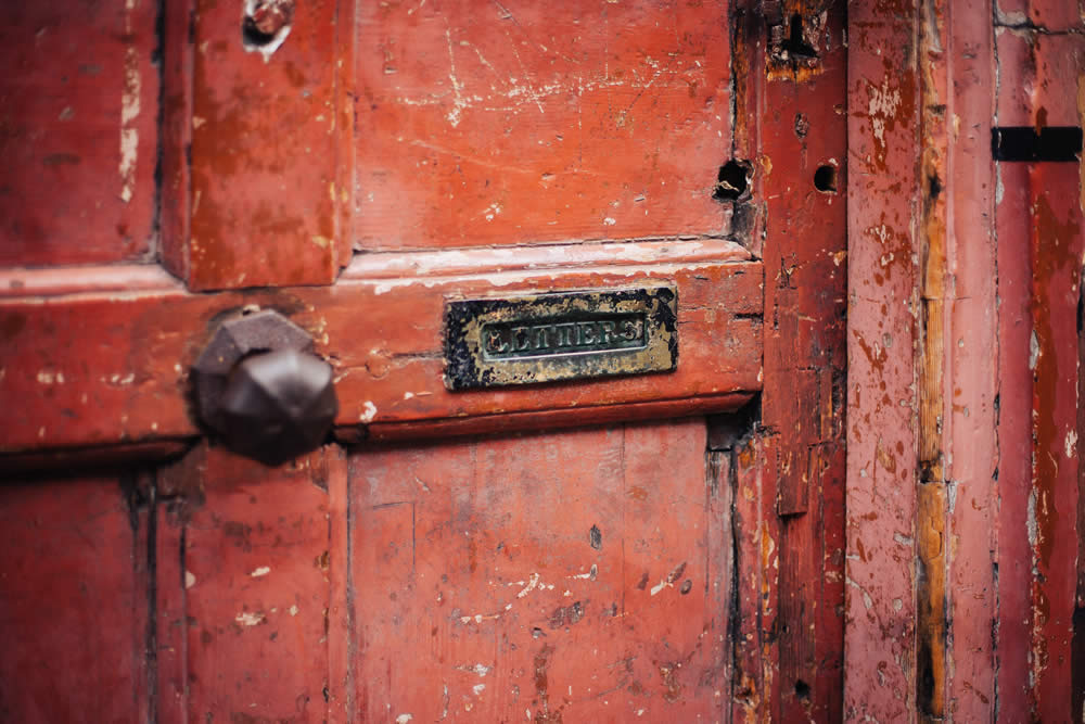 red door with letterbox, nice